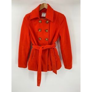 Old Navy Peacoat Jacket Red Fleece Size S Belted